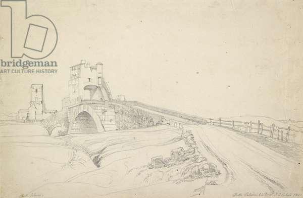 The Ponte Salario near Rome, 1821 (graphite on off-white paper)