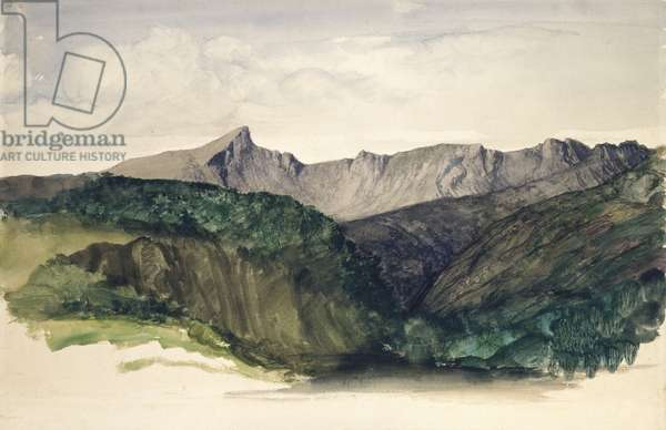 Study of a Distant Range of Mountains (Ben Nuis above Glen Rosa, Isle of Arran), 1860 (w/c on paper)