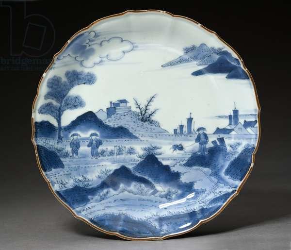 Dish, Arita ware, probably 18th century (earthenware with blue underglaze)