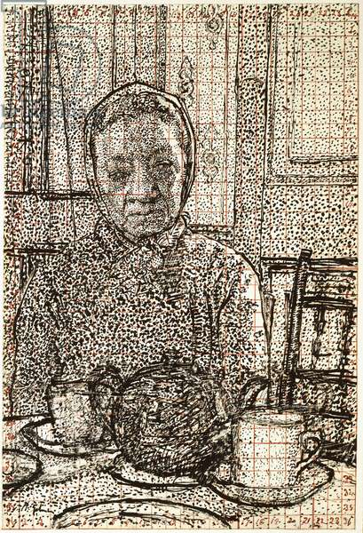 Mrs Mounter at the breakfast Table, 1916 - 1917 (pen and black ink, partly scratched, squared in red ink)