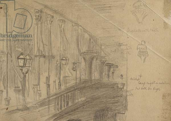 Recto: Study of London Bridge for 'London Bridge on the Night of the Marriage of the Prince and Princess of Wales', 1863 (graphite on buff paper)