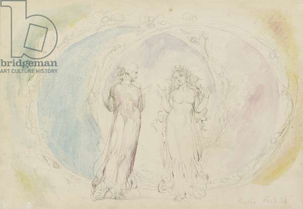 Beatrice and Dante in Gemini, amid Spheres of Flame, illustration to the 'Divine Comedy', Paradiso, 1825-27 (w/c with pen & ink over graphite)