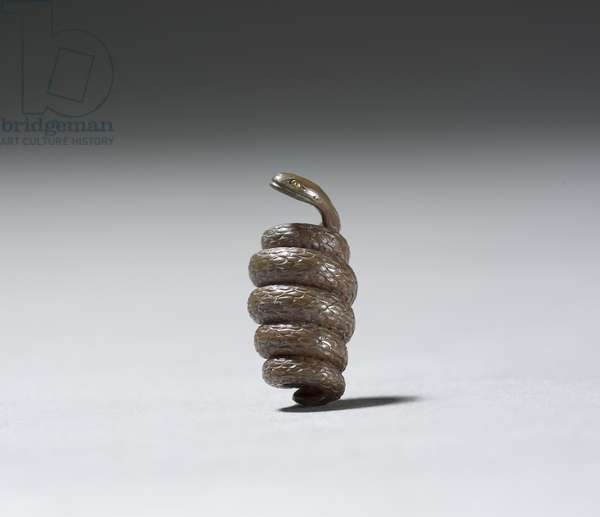 Ojime in the shape of a snake (copper)