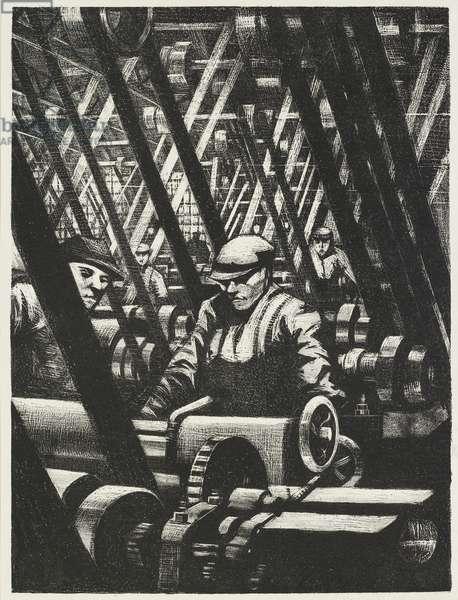 Making the Engine, 1917 (litho)