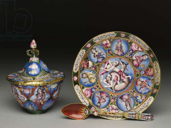 Lidded bowl, saucer and spoon with astrological decoration, early 19th century (enamel & gold)