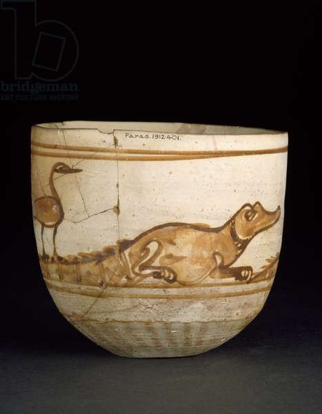 Cup decorated in red with a scene of two crocodiles with birds on their tails, 101-300 (fired nile silt, white washed & painted)