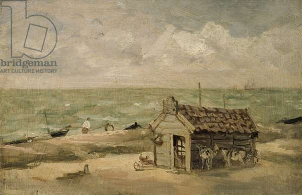 A Fisherman's Hut by the Sea (oil on board)