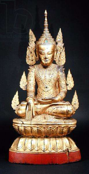 Seated Buddha, Burmese, c.1900 (gilded and lacquered wood)