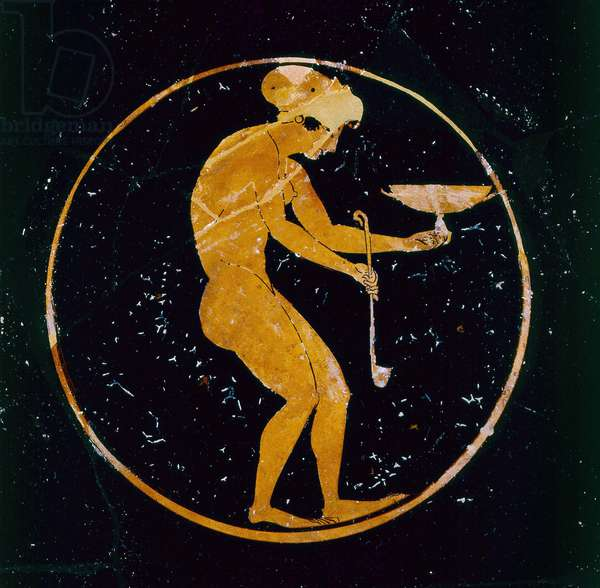 Attic red-figure cup decorated with a naked slave-girl holding a wine cup and a ladle, by Oltos, c.510 BC (ceramic)