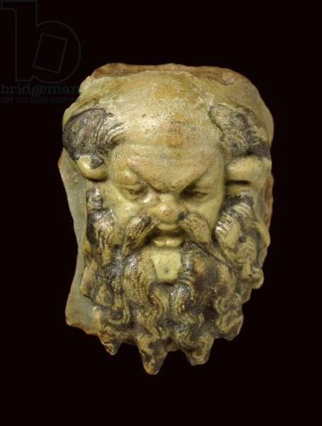 Silenus head of glazed faience (faience)