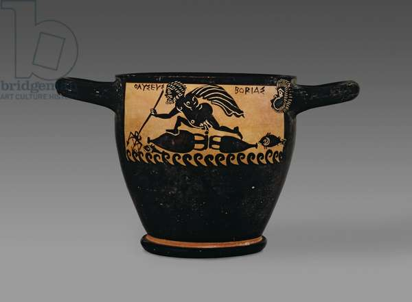 Boeotian black-figure skyphos, decorated with a scene of Odysseus being blown across the sea by Boreas, from the workshop of the Mystae Painter, Thebes, Boeotia, late 5th century BC (ceramic) (for verso see 100560)