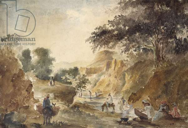 Landscape with figures by a river, 1853 - 1854 (watercolour over pencil)
