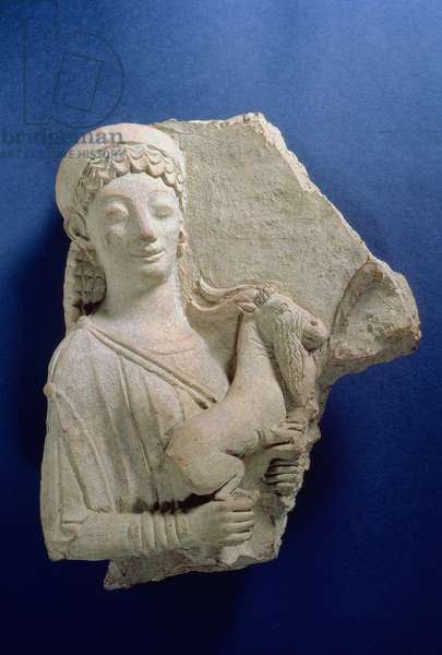 Relief of a woman holding a goat, Archaic period, c.500 BC (terracotta)