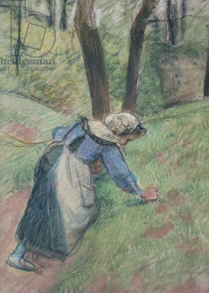 Peasant woman weeding the grass (pastel heightened in places with a pink wash)