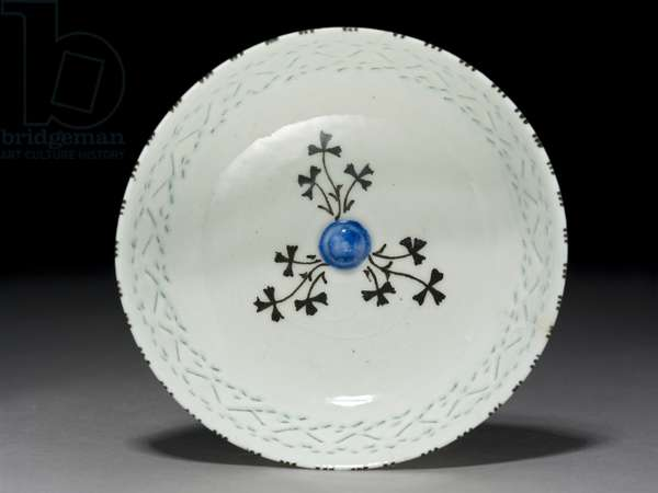 Gombroon Bowl, Iran, Safavid period, (stone-paste with pierced decoration and black underglaze)