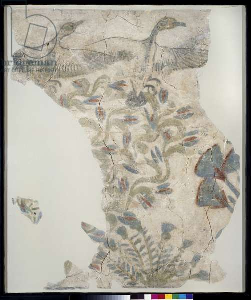 Fragment of painted pavement depicting geese taking flight from a marsh, New Kingdom