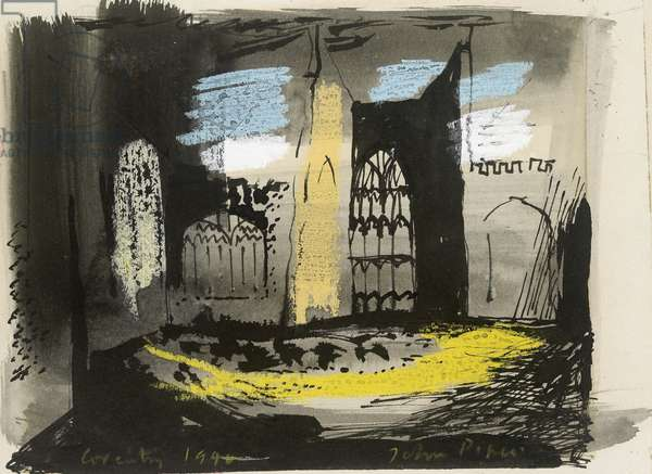 Interior of Coventry Cathedral, 1940 (India ink, wash and gouache)