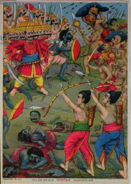 Rama and Lakshmana do battle with the wicked Ravana: an episode from the Ramayana epic, c.1914 (chromolitho)
