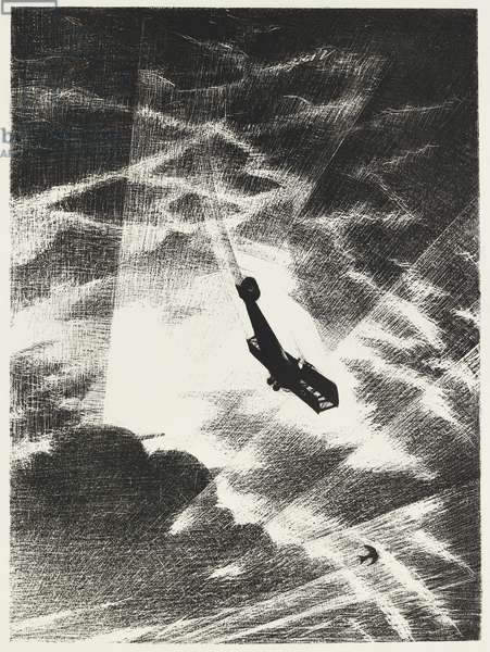 Swooping down on a Taube, 1917 (litho)