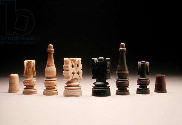 Chess pieces, 15th century (ivory and wood)