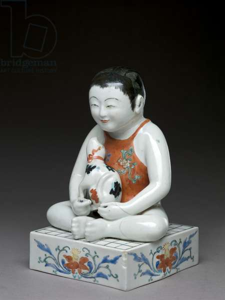 Boy with a dog sitting on a square 'shogi' table, Kakiemon related ware, Japanese, 1680-1700 (earthenware with blue underglaze)