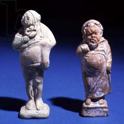 Two statuettes of elderly comic actors, from at Attica, c.375-350 BC (clay with white slip) (see also 1216421)