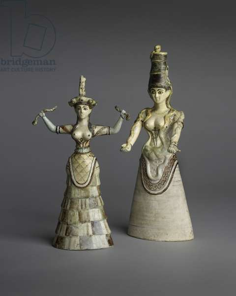 Replica 'Snake Goddess' figurines (faience)