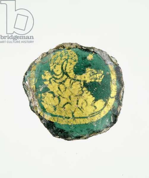 Medallion with the Snake of Babylon coiled on rocks, 3rd-4th century AD (gold & glass)