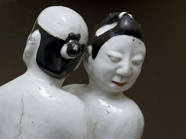 Wrestlers, Japanese, probably 17th century (earthenware with polychrome underglaze) (detail of 117752)