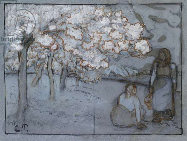 Compositional study of two female peasants conversing in an orchard, c. 1894 (red-brown and Indian inks over charcoal heightened with bodycolour on blue paper)