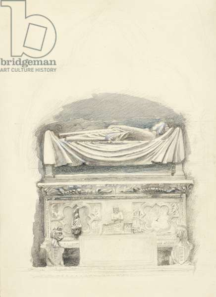 The Sarcophagus and Effigy of the Tomb of Cangrande I della Scala, Verona, 21 May-1 July 1869 (graphite, w/c and bodycolour on wove paper)