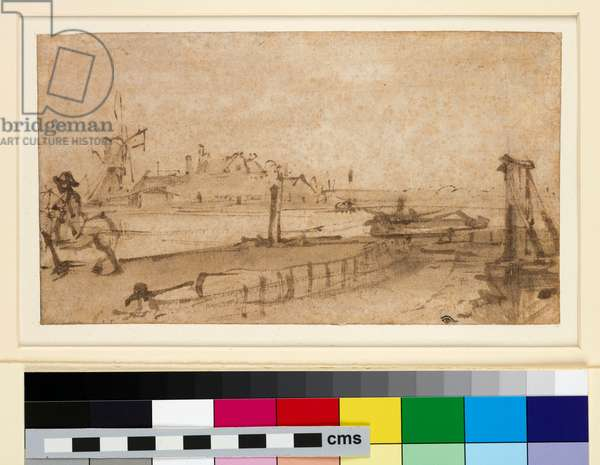 View from the Amsteldijk, 1654-55 (pen and brown ink, with brown wash, on paper)