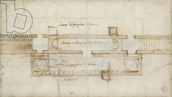 Design for a (?)Relic Chamber, 16th century (red chalk on paper)