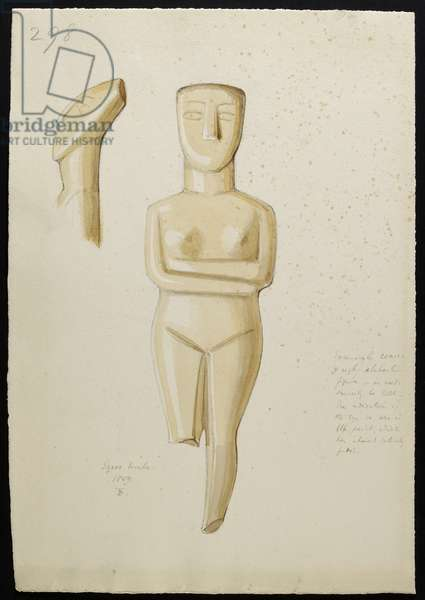 Drawing of a marble Cycladic Figure, Syros 1809 (w/c on paper)