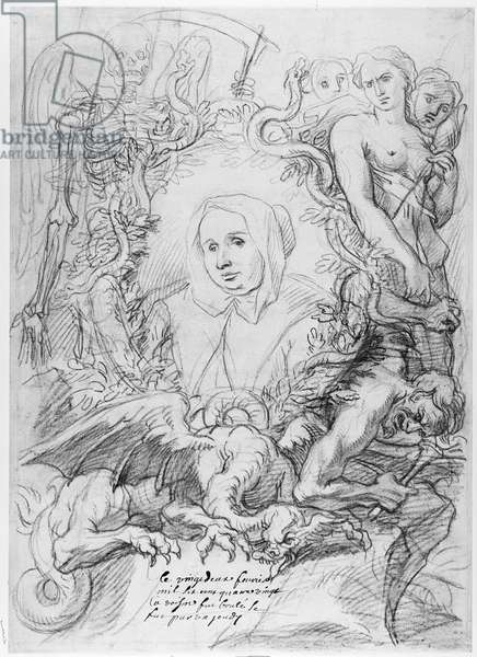 Catherine Monvoisin with the Three Fates on the right and Death on the left (pencil on paper)