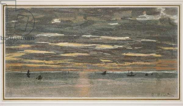 Sunset at Sea, 1865-1870 (pastel on buff paper)