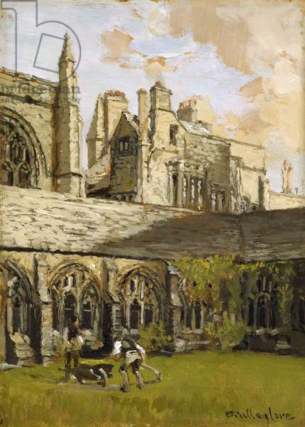 Cloisters at New College, Oxford (oil on panel)