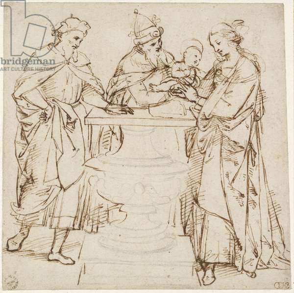 The Presentation in the Temple, WA1855.89 (pen & brown ink with graphite on off-white paper)