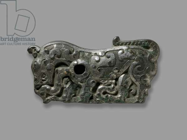 Belt plaque, Northern China, 5th century BC (tinned bronze)