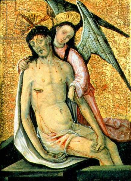 The Dead Christ Supported by an Angel, 15th century (oil on panel)