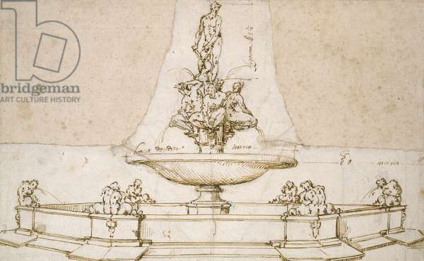 Design for a Fountain (pen and brown ink over indications in black chalk and indentations with the stilus on white paper)