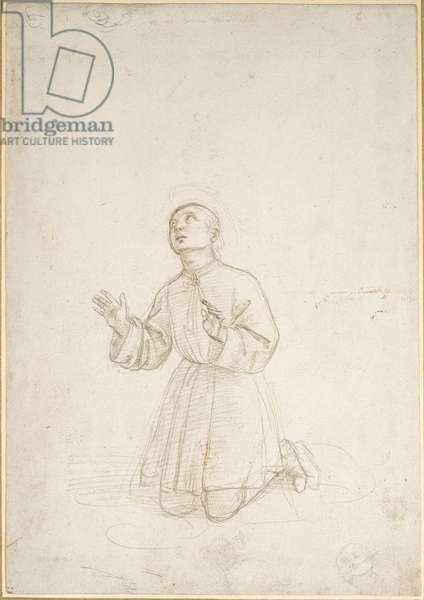 Kneeling Figure of a Youth, WA1846.153 (metalpoint on a white prepared paper)