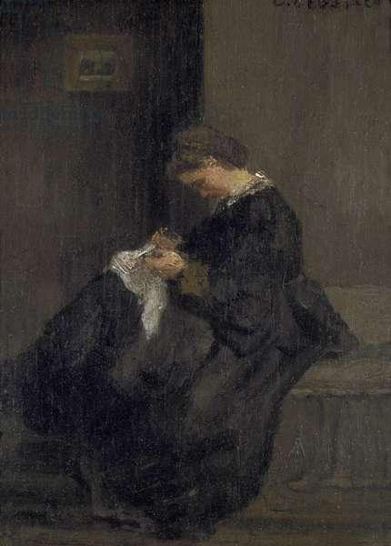 Madame Pissarro Sewing, 19th century (oil on panel)