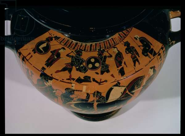 Attic black-figure hydria, detail of the shoulder decorated with a battle scene, 6th-5th century BC (ceramic)