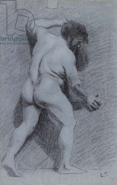 Study of a male nude posed against a wall, seen in profile, facing right (charcoal with white heightening on blue paper)
