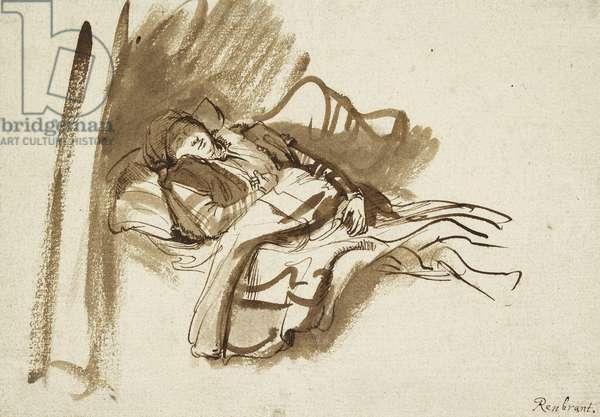Saskia asleep in Bed (pen and brown ink)