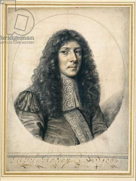 Portrait of John Aubrey, 1666 (black lead & chalk on paper)