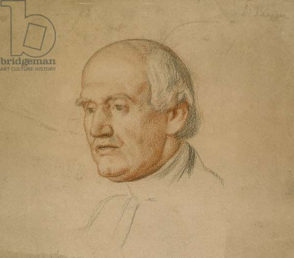 Portrait of Dr Bloxham (black and red chalk on brown card)