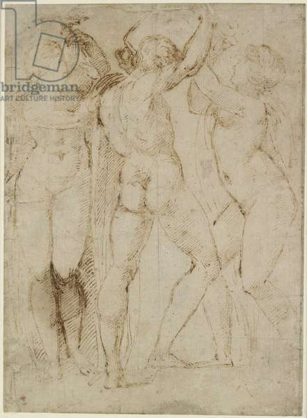 Group of Vintagers, c.1505-07 (pen & brown ink on off-white paper)