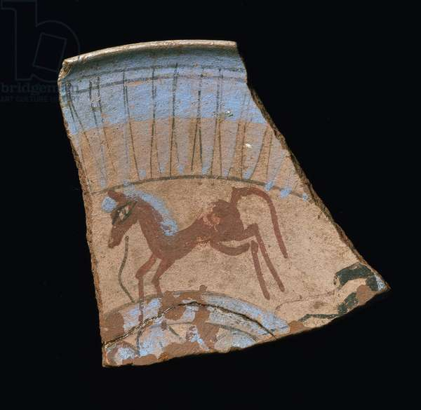 Shard painted with a galloping horse, from Tell el-Amarna, New Kingdom (pottery)